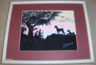 BASENJI PAINTING AFRICAN SCENE JUNE YOUNG 1993 9 1/2 x 7 3/4 15 x 12 frame