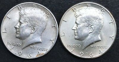 1964-P and 1964-D Silver Kennedy Half Dollars, Estate Coins, MP