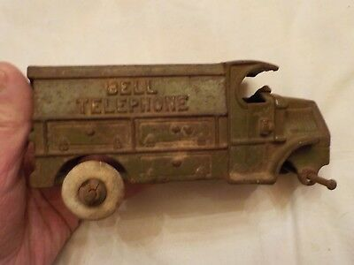 Vintage Antique Cast Iron Bell Telephone Truck
