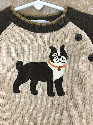 Janie and Jack Dog Sweater 12-18 months Pull-on Tan Brown Buttons
