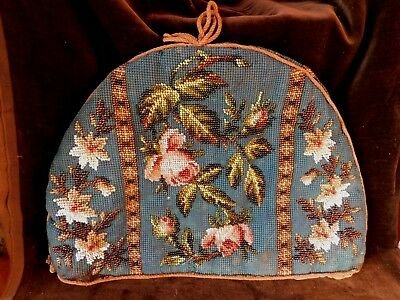 Antique Victorian  Bead Work And Tapestry Lined Tea Cosy