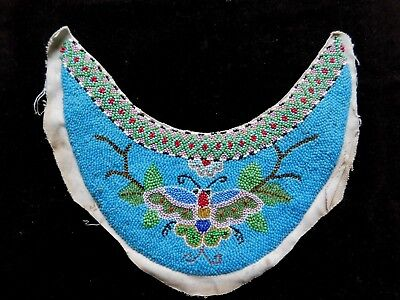 Antique Densely Worked Bead Work Crescent Shape Panel / Collar, American Indian?