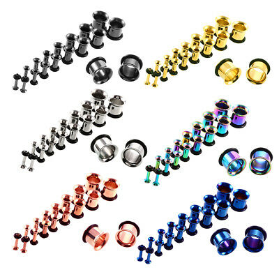18pcs Ear Tunnel Plug Gauge Stretching Kit Stainless Steel 14G-00G O-ring