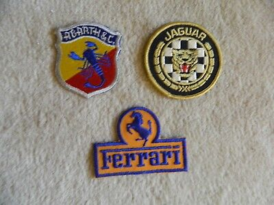 Automobilia/three Vintage Patches/abarth/ferrari/jaguar Xke/new
