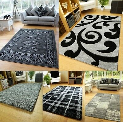 New Modern Grey Rugs Living Room Graphite Silver Charcoal Small Large Lounge Rug