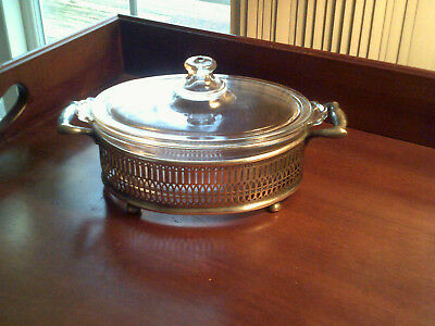 Vintage Silverplate Oval Footed Server W/Pyrex Covered Insert