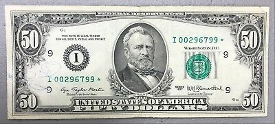 1977 $50 Fifty Dollar Federal Reserve Star Note ~ Vg+ Condition! Nr!