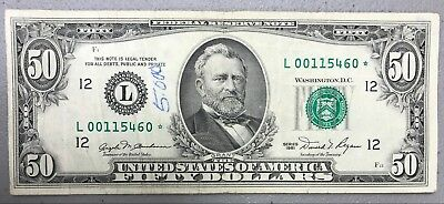 1981 $50 Fifty Dollar Federal Reserve Star Note ~ Vg+ Condition! Nr!