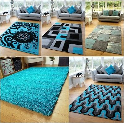 Turquoise Blue Silver Grey Modern Soft Thick Rugs Small Extra Large Mats Cheap