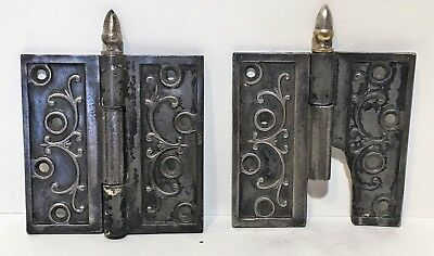 "Pair Antique Ornate Victorian Eastlake Door Hinges 4.5"" X 4.5 "" c1860  ""Rare"""