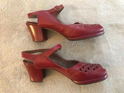 1940's Womens Red Leather Ankle Strap Peep Toe  Heel Sz modern 6.5 narrow Vtg