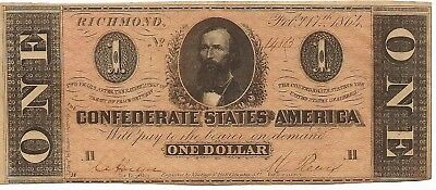 AC T-71 $1 1864 Confederate Currency - Uncirculated