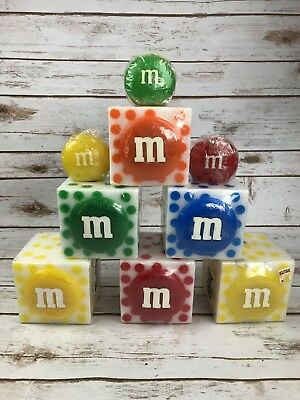 M&M World Collectible Heavy Square Candle Bundle 9 Piece Polka Dot Red Green