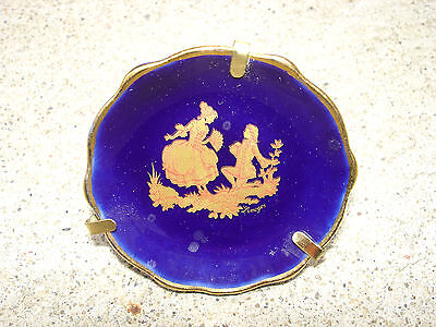 Vintage 1 pcs Limoges Porcelain Plate Art Cobalt Blue 24K Gold Trim And Lovers 3