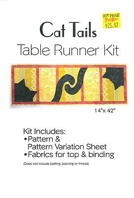 "Quilt Kit - Cat Tails 14"" x 42"" Cats Orange Yellow Table Runner Kit M409.18"