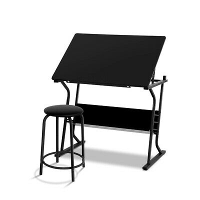 Drafting Drawing Desk Tilt Adjustable Table With Padded Leather Stool Set Black