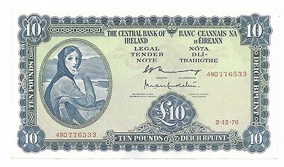 The Central Bank of Ireland 10 Pounds 2-12-1976 pick 66d XF+
