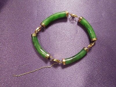 Antique Green Jade Bracelet Chinese Gold Tone Accents