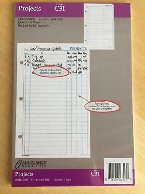 "At A Glance Organizer Pages - Projects - 51/2"" X 8 1/2"" - Item C31-  NIP"