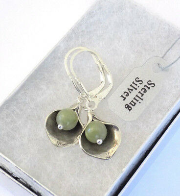 Small Irish Connemara Marble Solid Sterling Silver Calla Lily Leverback Earrings