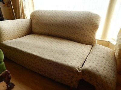Antique 1920's drop end two seater sofa and 2 armchairs