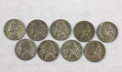 Jefferson 35% Silver War Nickels 9 Coins Circulated Condition