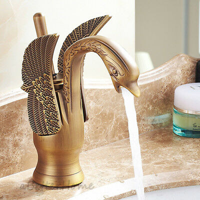 Retro Brass Swan Shape Single Lever Bathroom Sink Faucet Wash Basin Mixer Tap
