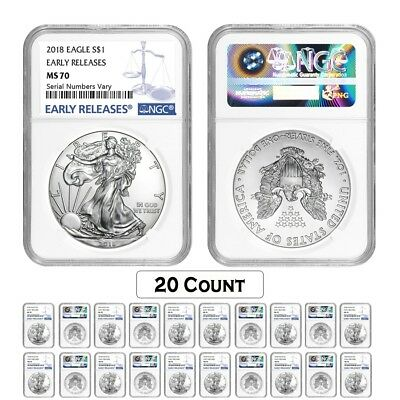 Lot of 20 - 2018 1 oz Silver American Eagle $1 Coin NGC MS 70 Early Releases