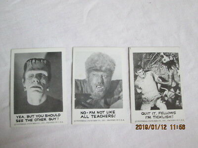Spook Stories 1961 Leaf Brands Trading Cards lot of 3  #44,46,121