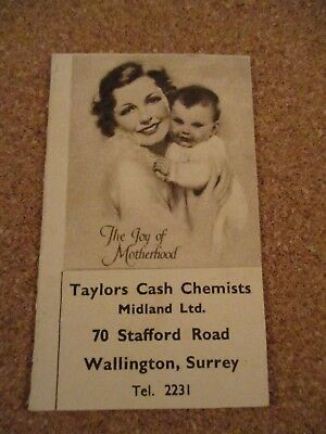 Samll Taylors Cash Chemists Baby Weight Card