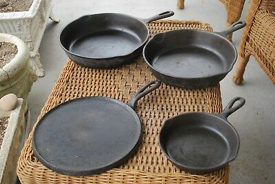 1 Lot Of 4 Vintage Cast Iron Pans,unmarked