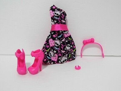 Monster High Draculaura Dress Pink Heels Shoes Headband Replacement Skulls