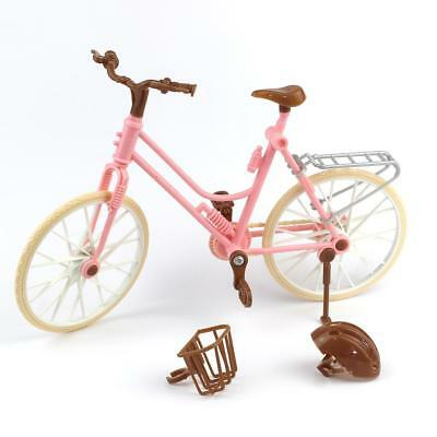 High Quality Beautiful Bicycle Doll  Detachable Pink Bike Brown Plastic Barbie T
