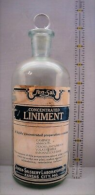 RARE & Primitive Antique Salsbery Liniment Bottle Large With Stopper and Label