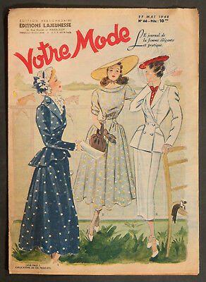 'votre Mode' French Vintage Newspaper 27 May 1948