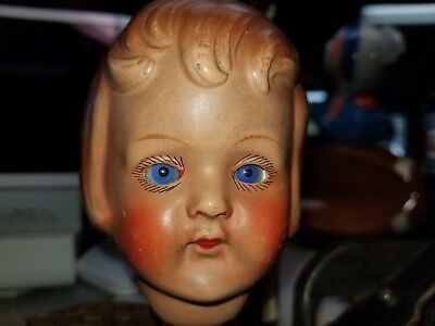 """WOW"" RARE Fantastic antique German bisque  doll head, glass baby blue eyes"