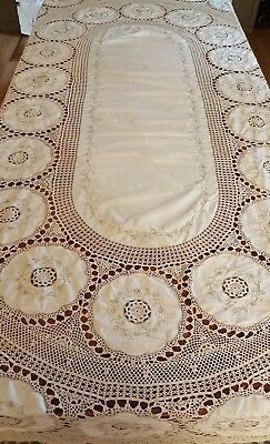 """Antique French Farmhouse Linen and Lace Oval Table Cloth 102"""" X 69"""""""