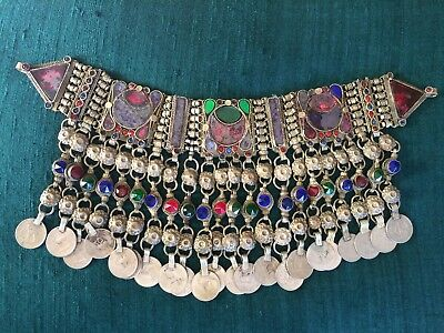 Antique Nomadic Silver Coin & Glass Necklace from Iran
