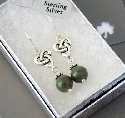 Irish Connemara Marble Triquetra Celtic Knot Earrings Solid Sterling Silver 925
