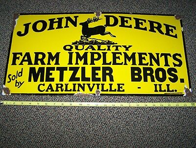 Old JOHN DEERE Farm Implements Porcelain Sign Advertising Early 1900's  NICE!!