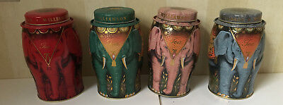 Lot  Of 4 Williamson Elephant  Tea Tins EMPTY  Red, Green, Pink, Blue  all Good