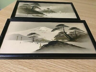 Antique Pair of Japanese Meiji Period Watercolour Landscapes & gold Lacquer