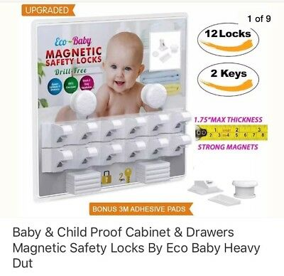 Eco-Baby Child Safety Magnetic Cabinet Drawer Locks for Cabinet Proofing-12 Pack
