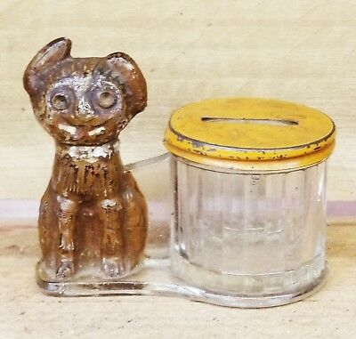 Glass Charlie Chaplain Candy Container Bank by L E Smith Co