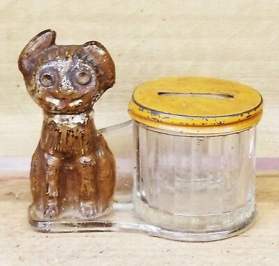 Glass Dog Candy Container Bank by L E Smith Co