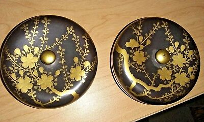 Pair of Early 20th Century Japanese Lacquer & Gilt Decorated Circular Boxes