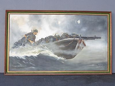 Large 3'x5' World War Military German Oil Canvas Painting Picture Sefroter 1967