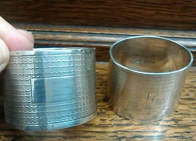 antique solid sterling silver pair napkin rings heavy 125 g