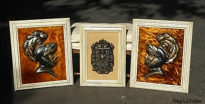 3 Vintage Mid Century Modern Medieval Knights Shield Wall Pictures Orange Velvet