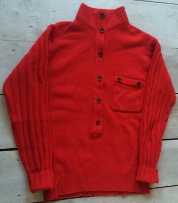 Vtg 1960s 70s Women's Red Wool Jumper Mod Turtleneck